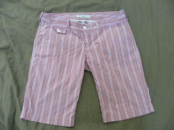 Abercrombie Fitch Bermuda Walking Shorts 2 Pink Striped Womens Juniors Stretch #AbercrombieFitch #BermudaWalking