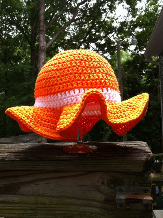 Orange and White Floppy Crochet Toddler by HeathersCreations, $7.50