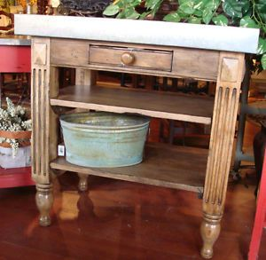Cottage Distressed Kitchen Island Solid Wood With A Zinc Top Photos Kitchen Carts And Islands