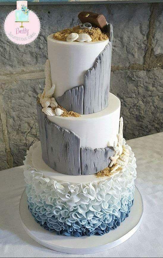 Beautiful Ocean Or Beach Themed Cake I Like The Slanted Driftwood