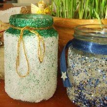 adventi dekoráció mécses befőttes üvegből