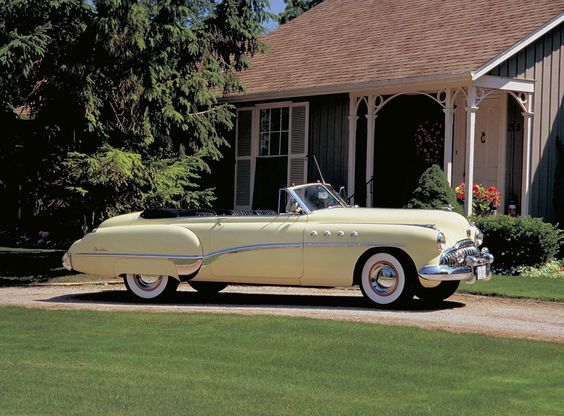 Some of #Buick's most iconic design features originated with the 1949 Roadmaster models. Check out the waterfall grille and portholes on this #Roadmaster Riviera #Convertible.