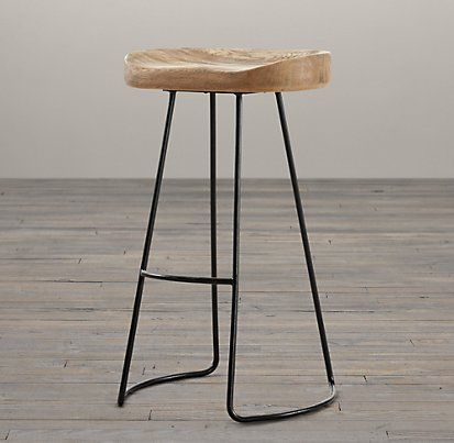 Oak tractor seat stool restoration hardware kind of goofy but i like them crosby - Metal madeleine stool ...