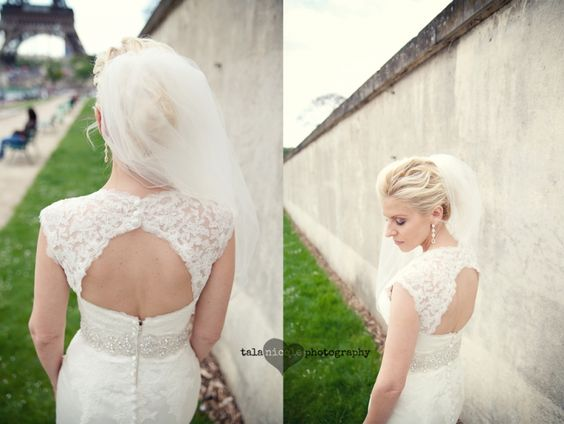 #backless #lace #wedding #dress paris #wedding #photographer #eiffel tower talanicolephotography.com