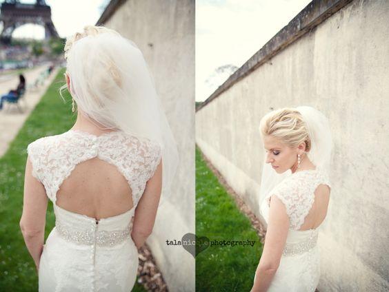 #backless #lace #wedding #dress paris #wedding #photographer #eiffel tower talanicolephotography.com