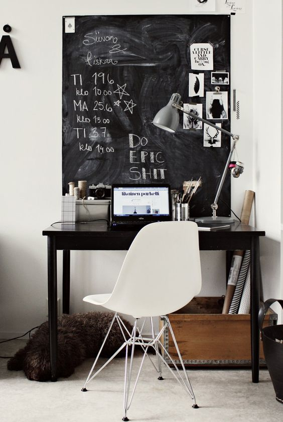 really nice desk with black chalkboard behind and a critically important message scribed beautiful home office chalkboard