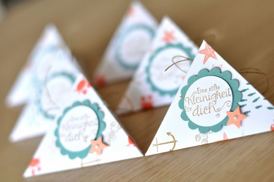 """3x6"""" paper strips fold easily into these small triangle treat boxes. See video tutorial here: https://www.youtube.com/watch?v=8izzdRM_4us"""