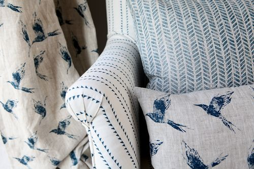 Inky Sky on Natural linen  #linen #grey linen #fabric #grey fabric #designer linen #designer fabric #coastal