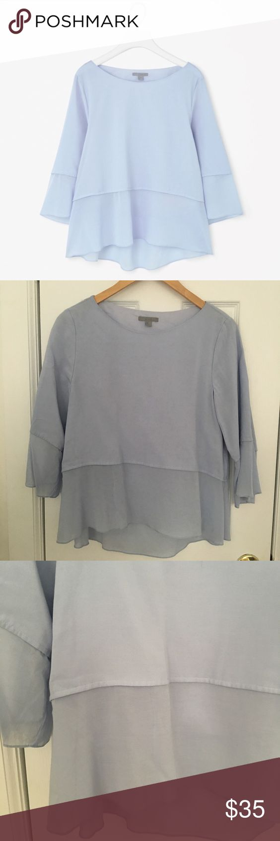 COS Sheer Contrast Top, Size 4 Such a lovely, light, and feminine top from minimal Scandinavian brand COS. A soft light blue in color. US women's size 4 (fits like an S). Machine wash cold. Shell: 79% cotton, 21% cupro. Lining: 100% cotton. Only worn twice, in great condition. COS Tops Blouses