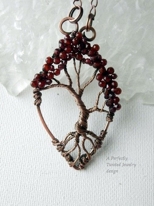 Wire Wrapped Tree of Life Bonsai Pendant, Garnet, Carnelian, Handmade Jewelry, Antiqued Copper, Wire Tree Jewelry Perfectly Twisted