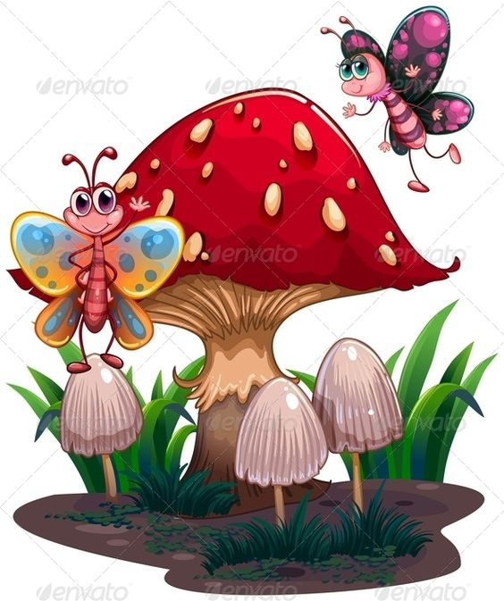 Butterflies Flying Near a Giant Mushroom