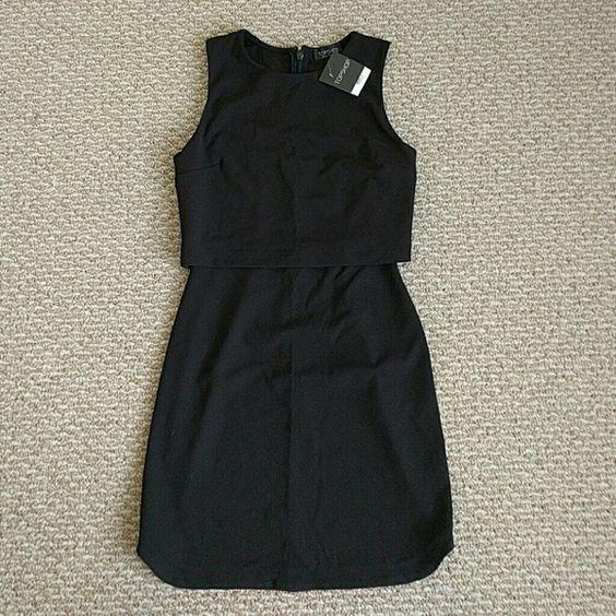 NWT TOPSHOP Sleeveless Curved Hem Overlay Dress Black Topshop dress with curved hem Topshop Dresses Mini