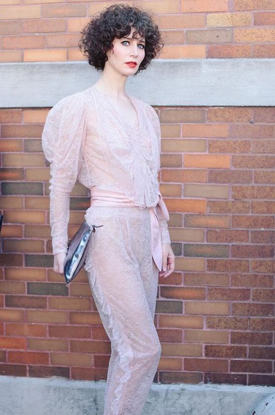 "RODARTE on Twitter: ""Love love @Miranda_July at the SS17 show wearing Rodarte Pink Lace! 💕💕💕 (ph: eventphotosnyc) https://t.co/yooRbE7DZj"""