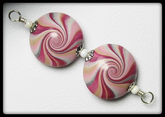 Cranberry Splash... Handmade Polymer Clay Beads Set Earring Pair Pink Plum Purple Silver White Lentil Lentils Swirl Spiral Jewelry Supplies by Fanceethat on Etsy