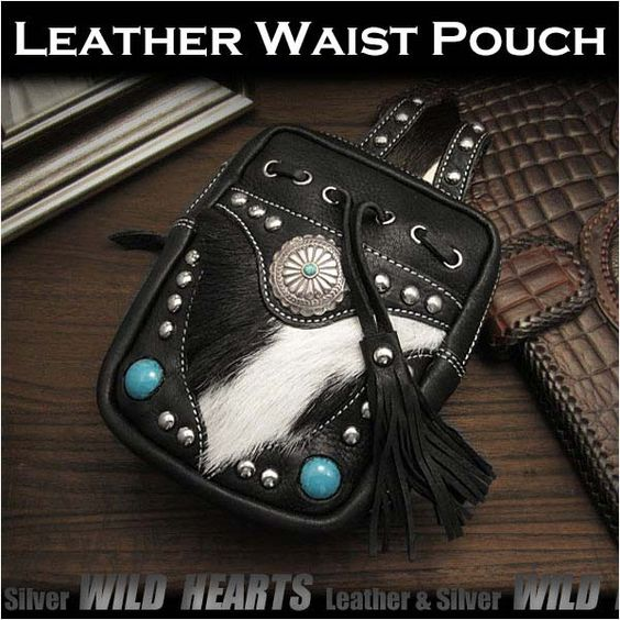 Hands-free convenience when you are out and about.   Genuine cowhide skin Fur Hip Bag Waist/Belt Pouch WILD HEARTS Leather&Silver(ID wp0843b24) http://global.rakuten.com/en/store/auc-wildhearts/item/wp0843b24/