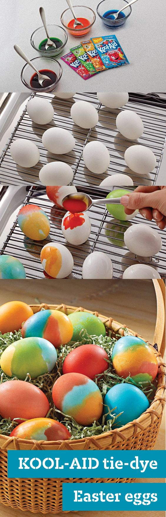 KOOL-AID Tie-Dye Easter Eggs – As cool as they are, Tie-Dye Easter Eggs are super easy to make with a few different KOOL-AID packets and hard-cooked eggs—especially with these step-by-step instructions! This kid-friendly craft will make the whole family's holiday a little more colorful. Click here for more tips on how to make coloring Easter eggs extra special.: