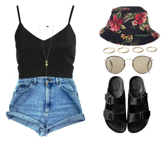 anytime by melanie-pacheco on Polyvore featuring moda, American Rag Cie, Ray-Ban, HUF and casual