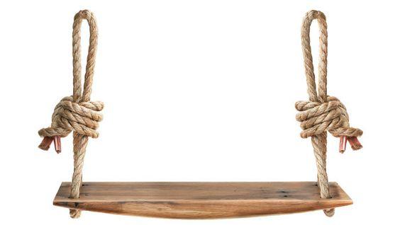 Handcarved oak rope swing.