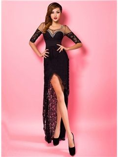 Fantastic Half Sleeve Front Split Lacey Evening Dress