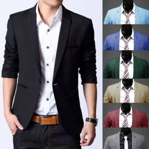 Fashion Mens Business Formal Blazer Coat Jacket Casual Slim One Button Suit Tops