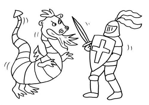 Ritter Und Drachen Drache Und Ritter Kampfen Zum Ausmalen Ausmalen Malvorlagen Ausmalbilder
