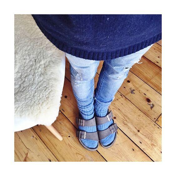 """Socks & birkis kinda day #homedesk #homechick  (alpaca socks by @perillasandra) """