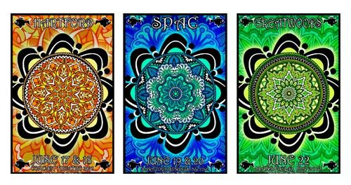 3 piece collection of original concert lot posters for PHISH at the Comcast Theater (Hartford, CT), Saratoga Springs Performing Arts Center (Saratoga Springs, NY) and Greatwoods (Mansfield, MA) SUMMER TOUR 2010 11x17 card stock. Art by Maria DiChiappari. Mint Condition. Made with love!!