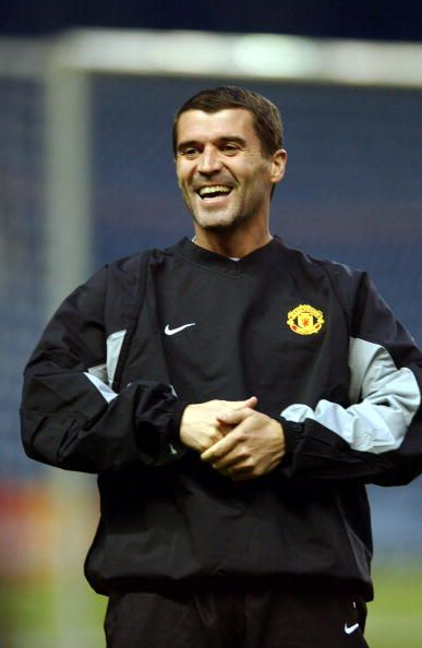 October 21 2003, Roy Keane trains in preparation for Manchester United's Champions League match against Glasgow Rangers