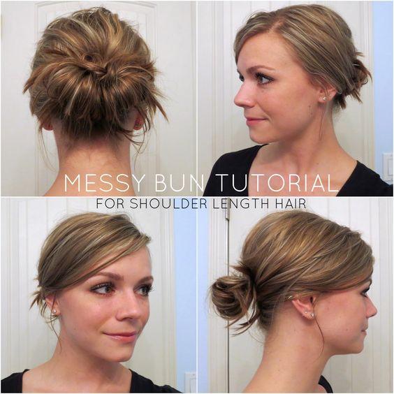 messy bun tutorial for shoulder length hair chic messy