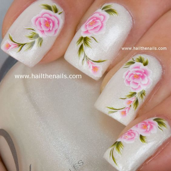 English Tea Rose Nail Art Water Transfer Decal Pink