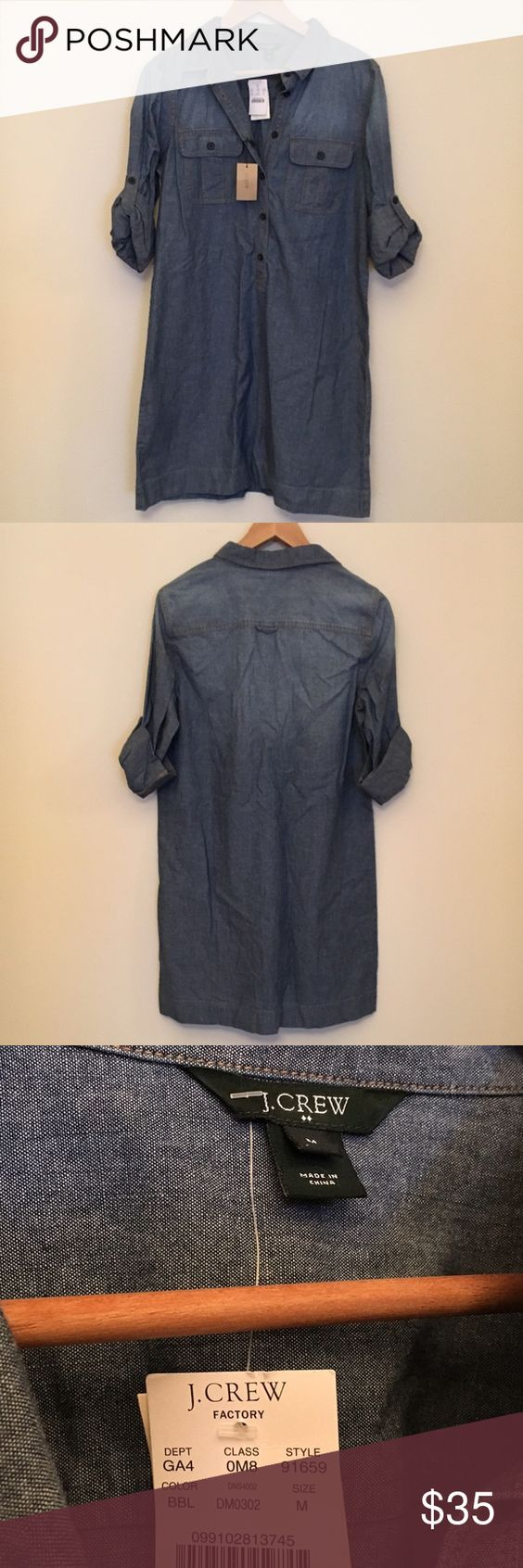 """J. Crew Classic Chambray Dress NWT Chambray Dress. Length from shoulders- 36"""" Waist-40"""" J. Crew Dresses"""