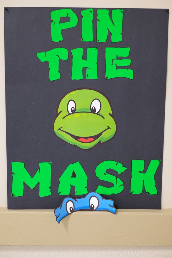 Teenage Mutant Ninja turtle party|pin the mask|TMNT The letters on the link are too small so I made these letters myself