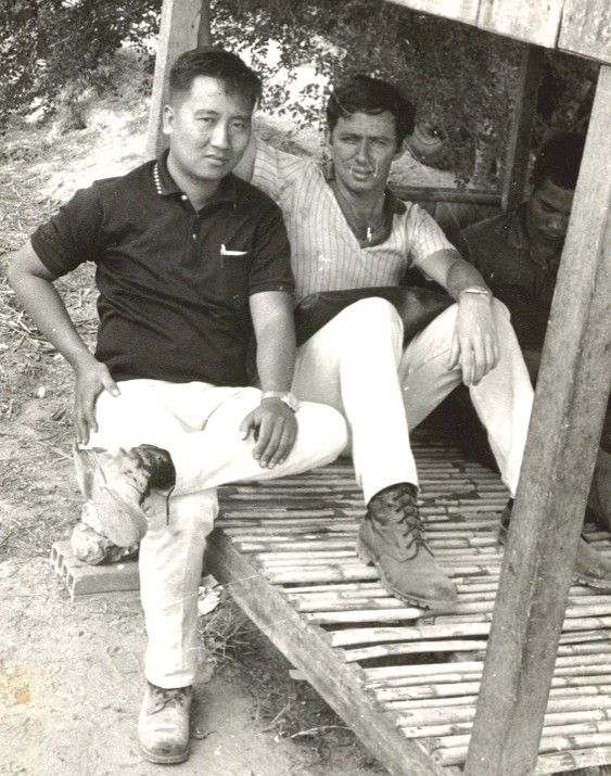 Tong (left) and I on the trail of the missing journalists in Cambodia, 1970. Tong was an excellent intelligence officer, polite and soft-spoken to everyone. An Air Vietnam flight bag with two M-3 submachine guns inside was never out of his reach.