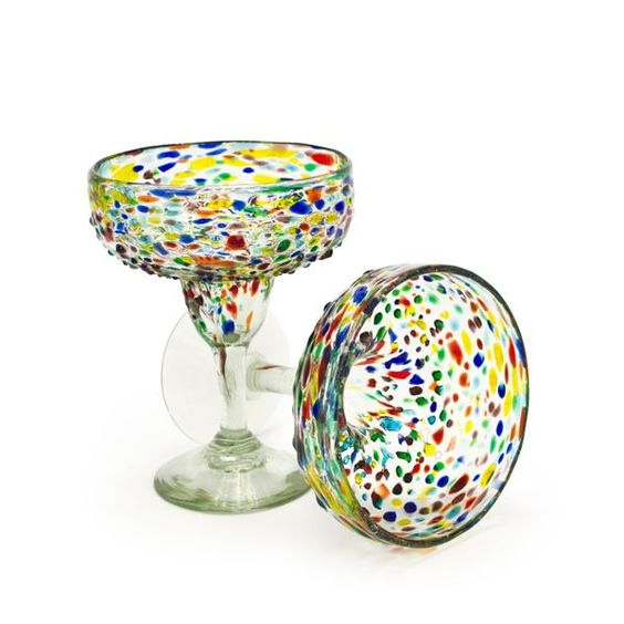 Confetti Recycled Margarita Glass - Set of 2, reg. $20,  handblown recycled glass, made in Mexico