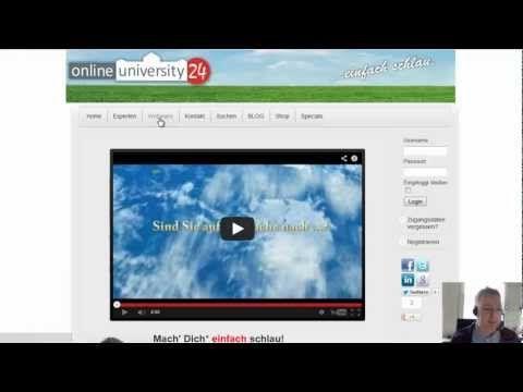 Anleitung zur Reservierung/Buchung eines Webinars mit Gutscheincode auf  http://www.onlineuniversity24.net/
