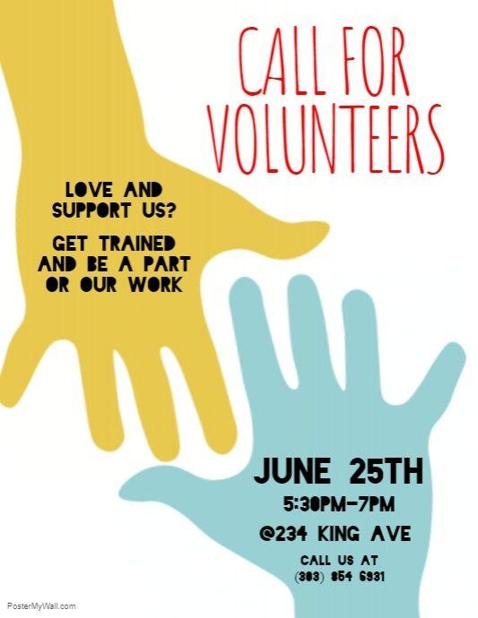 Call For Volunteers Flyer Charity Poster Event Poster Design Volunteer