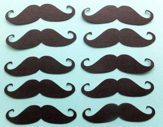 25 x  Mustache - Moustache Die Cuts - Choose your colour: Black or Purple!
