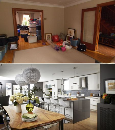 Before And After Of This Beautiful Open Concept Kitchen: Grey Walls, Warm And Kitchen Dining Rooms On Pinterest