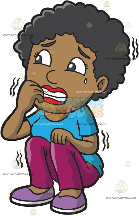 A Black Woman Shakes In Fear :  A black woman with short curly hair wearing a sky blue shirt violet pants purple with white shoes sitting on the floor as she shakes violently while biting the nails of her right hand a small tear falling down from her left eye  The post A Black Woman Shakes In Fear appeared first on VectorToons.com.