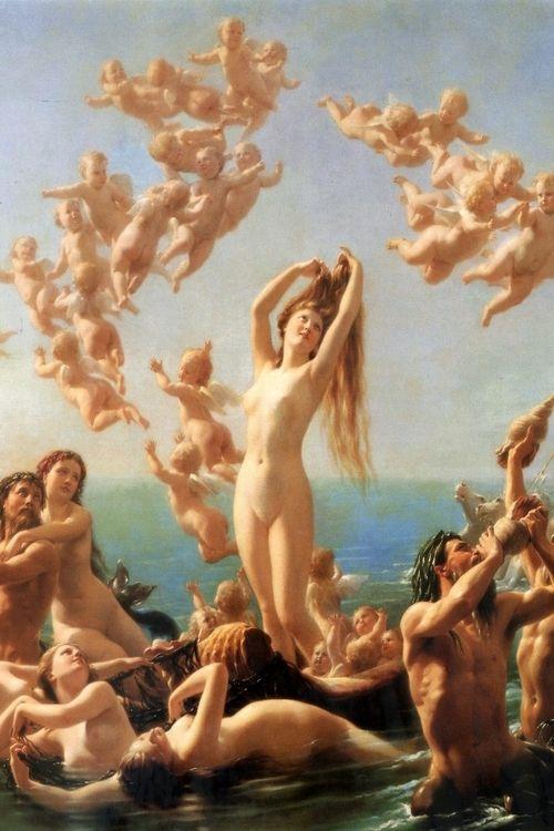 Birth of Venus (1887) by Fritz Zuber-Bühler..... after Bougeureau's composition in 1879?