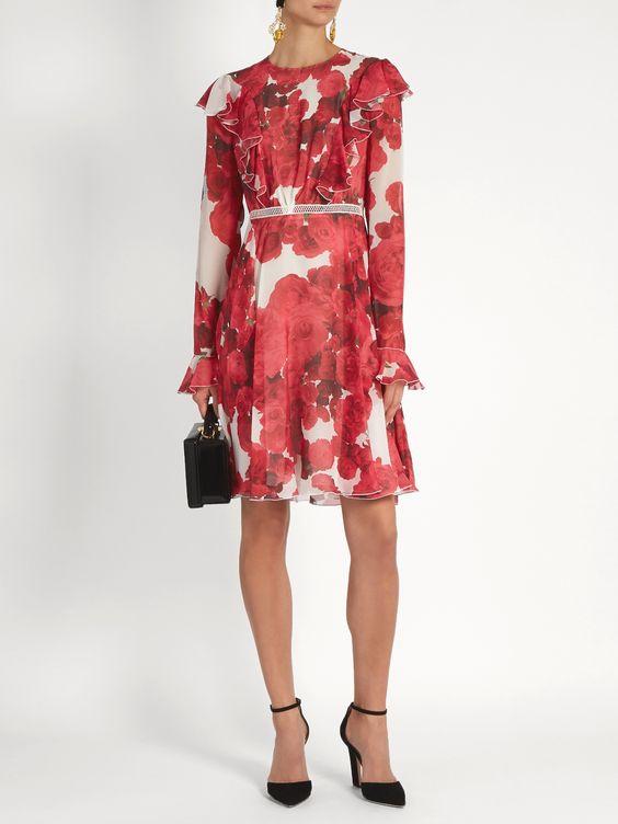 Rose-print ruffled silk-georgette dress   Giambattista Valli   MATCHESFASHION.COM