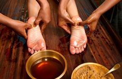 THE VALUE OF OILING YOUR FEET  During my years of study with Guru ji (Shri Brahmananda Sarasvati), he often told students to oil their body with sesame or coconut oil as a way to bring healing and quiet to the nervous system.  He would suggest oiling just prior to sleeping so that the oil had an opportunity to soak into the skin over night. According to Ayurveda, the practice of oiling gives a calm and tranquil feeling to the body and mind.