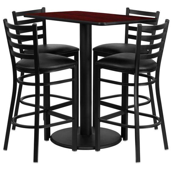 Flash Furniture 24'' x 42'' Rectangular Mahogany Laminate Table Set with 4 Ladder Back Metal Bar Stools - Black Vinyl Seat [RSRB1018-GG]