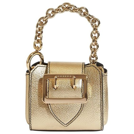 Burberry Mini Buckle Tote Charm in Metallic Leather ($375) ❤ liked on Polyvore featuring bags, handbags, tote bags, white leather tote, handbags totes, burberry tote bag, leather purses and coin purse
