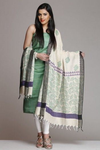 Green Khadi Silk Cotton Unstitched Suit With Leaf Hand Block Print