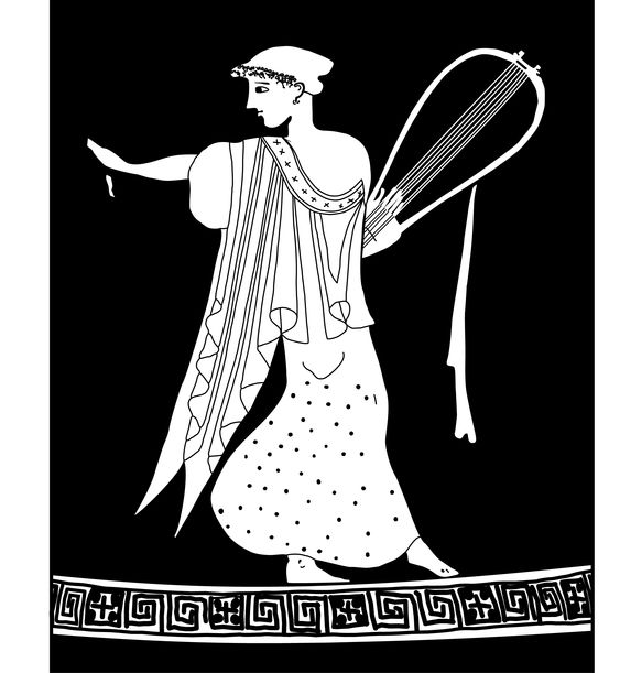 Sappho_ Attic kalyx-krater attributed to the Tithonos Painter, first third of the fifth century. Line drawing by Valerie Woelfel.