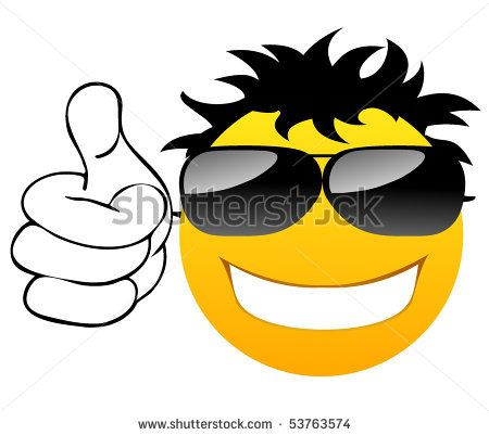 Cool Smiley Face Thumbs Up Thumbs up Smile with g...