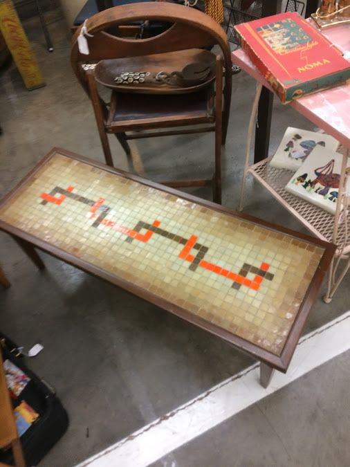 Mid Century Tile Top Coffee Table $90 Dallas Vintage Market Booth #777 Lula  Bu0027s Oak
