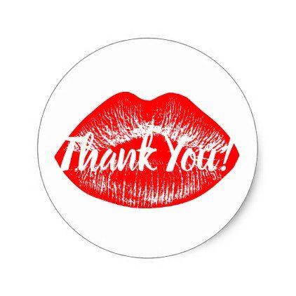 Red Lips Print Thank You Classic Round Sticker Zazzle Com