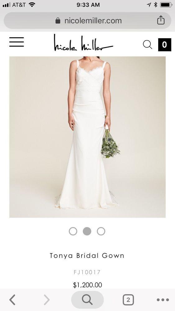 Nicole Miller Tonya Stretch V Neck Silk Bridal Gown Sz 10 Nwt
